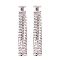 "3.75"" crystal dangle earrings pierced bridal prom"