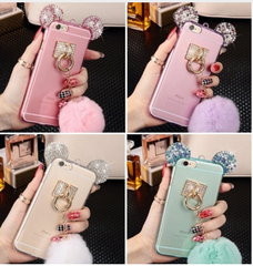 bling crystal Mickey Mouse Ear Fur Phone Case iphone pom pom fur ball