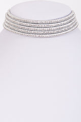 "14.50"" metallic cord coil multi strand 5 row collar choker magnetic necklace"