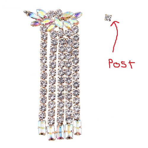"3.20"" ab clear crystal dangle 1.50"" wide .10"" post earrings pierced bridal prom"