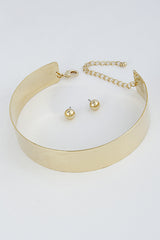 "14.50"" open cuff choker necklace 1"" wide earrings 1"" wide"