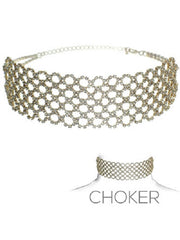 "11.50"" clear crystal collar choker necklace 1.75"" wide bridal prom"