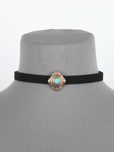 "12"" faux suede pendent boho choker collar necklace"