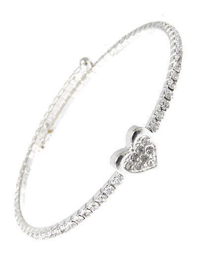"8"" silver crystal heart bracelet bangle cuff coil"