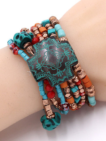 "1.25"" patina bead multi layered boho bangle cuff stack stretch bracelet"