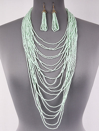 "20"" mint seed bead layered tiered bib choker layered choker 2.50"" earrings"