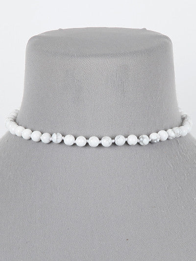 "12"" 6mm stone collar choker necklace"
