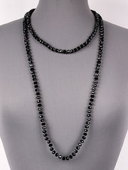 "60"" glass bead long necklace"