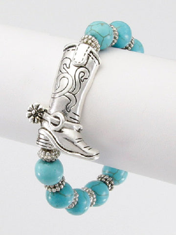 "1.50"" silver cowboy boot western bangle stretch bracelet turquoise stone"