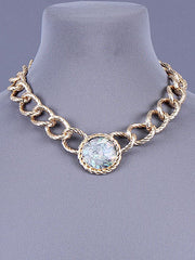 "17"" gold ab large chain link choker pendant necklace"