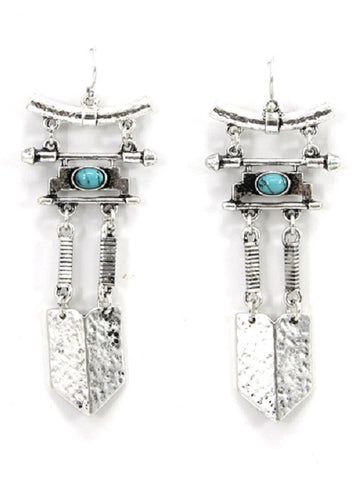 "2.25"" silver turquoise drop dangle Earrings"