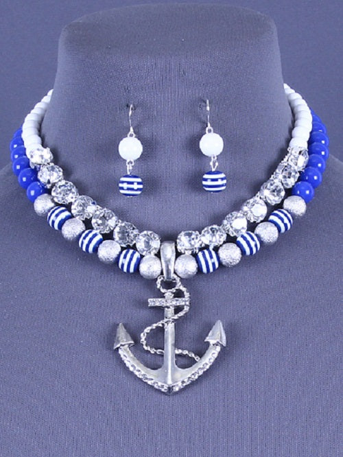 "16"" crystal blue bead marine nautical anchor sea life necklace 1.25"" earrings"