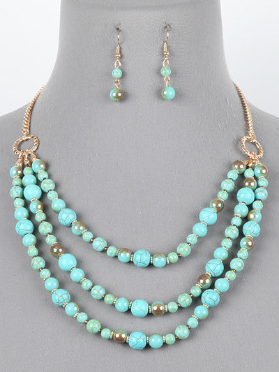 "16"" turquoise layered glass beads collar choker necklace earrings"