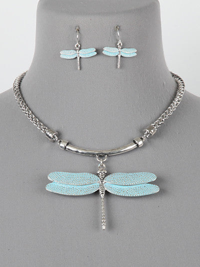 "16"" silver patina dragonfly pendant necklace earrings"