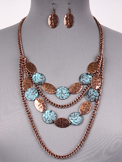 "22"" patina layered boho necklace 1"" earrings"