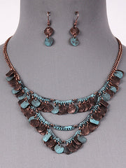 "18"" patina dangle multi layered necklace boho .75"" earrings"