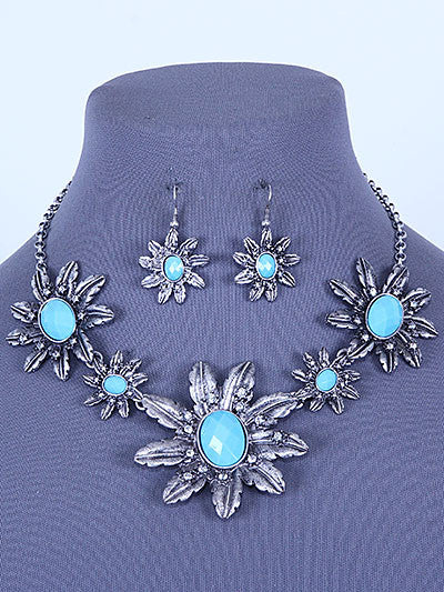 "16"" silver turquoise clear crystal flower bib collar necklace 2"" earrings"