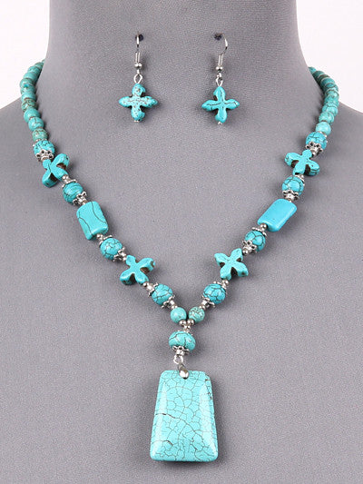 "18"" silver turquoise pendant necklace .75"" earrings"