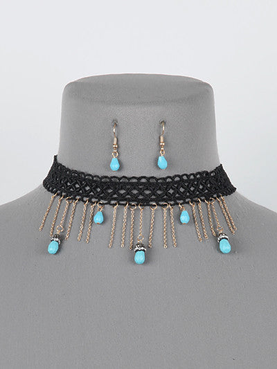 "12"" lace turquoise dangle charm choker collar bib necklace .40"" earrings"