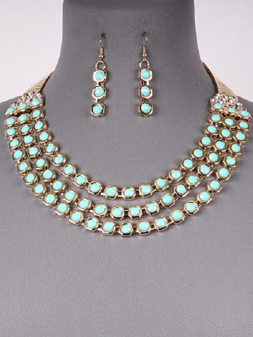 "17"" crystal gold mint collar bib layered necklace 1.50"" earrings"