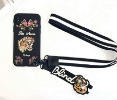 embroidered iPhone Case faux leather cover phone with strap