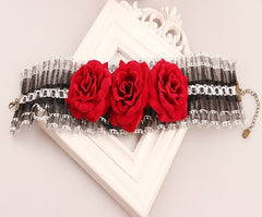 "11.50"" floral lace choker necklace 3"" wide"