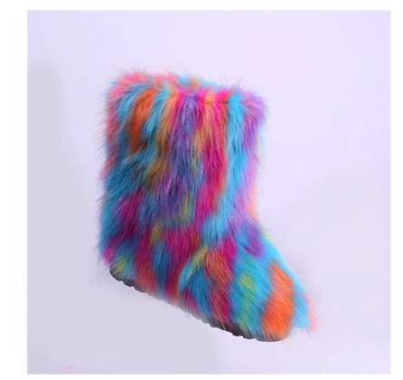 multi color faux fur furry winter fluffy Boots