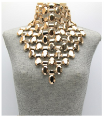 "12.5"" gold metal acrylic stone bib necklace 3"" earrings 9.50"" drop"