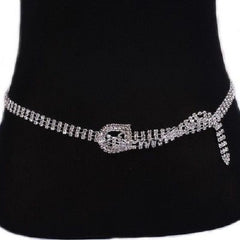 "31"" -  36"" waist silver crystal 3 row belt bridal prom pageant"
