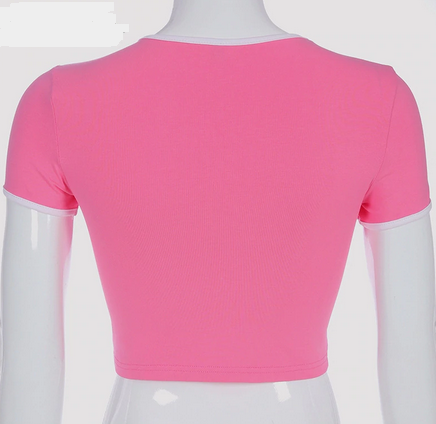 pink printed crop top tshirt summer top tg