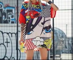 Face Graffiti Hoodie Dress Punk tg