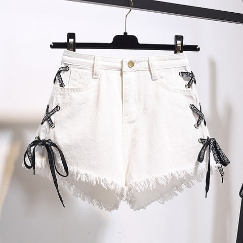 jean lace denim Shorts