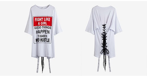 tie up quote tshirt dress shirt one size fits all