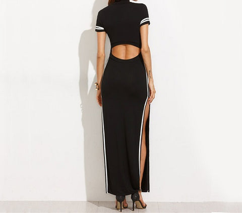 striped long split bodycon cut out dress