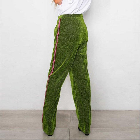 glitter stripped wide leg sweat pants