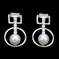 "1.25"" silver crystal faux pearl dangle earrings pierced bridal prom"