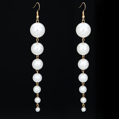 "5.25"" cream faux 7 pearl long dangle pierced earrings bridal prom"