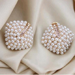 ".65"" faux pearl post earrings pierced"