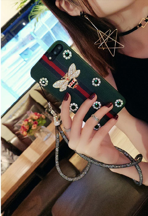 crystal iPhone Case faux leather cover with strap
