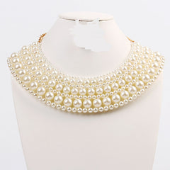 "16"" cream pearl choker collar bib statement necklace basketball wives"