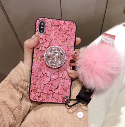 bling crystal pink cracked marbled Phone Case iphone