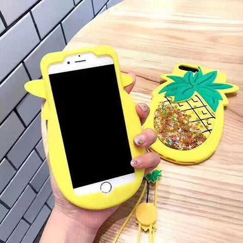 glitter Pineapple iPhone case phone with cord