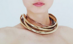 "16"" tube 7 layered hollow choker necklace"