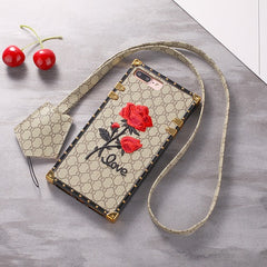 flower embroidered iPhone Case faux leather cover with strap