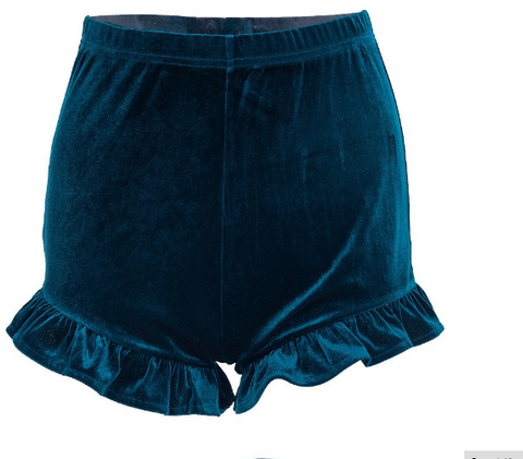 Cute Ruffled Velvet Booty Shorts tg