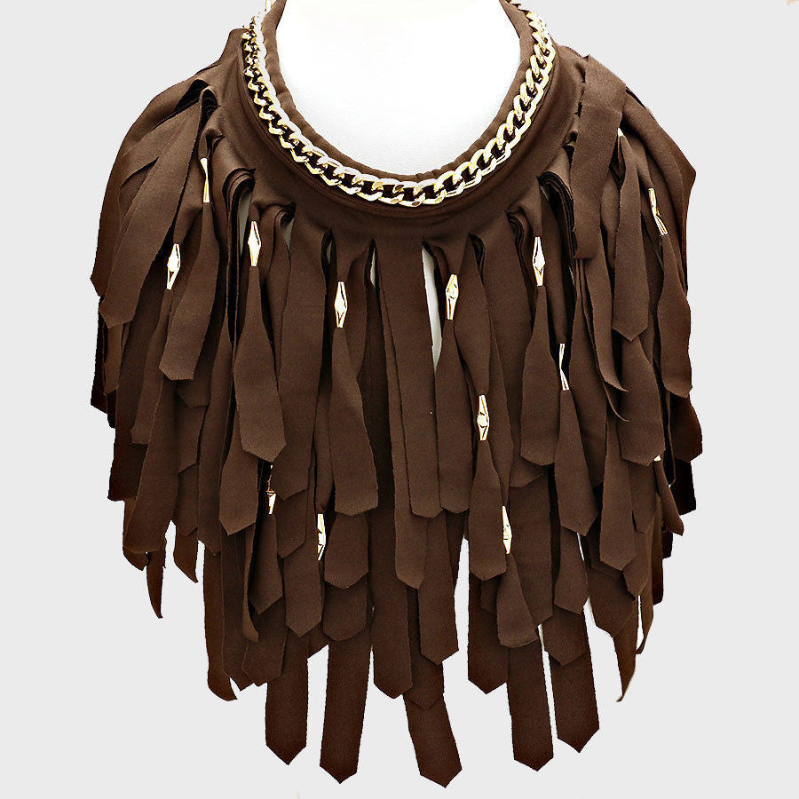 brown fabric collar bib fringe tassel choker chain layered Necklace