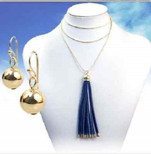 "28"" blue long tassel fringe layered necklace earrings"