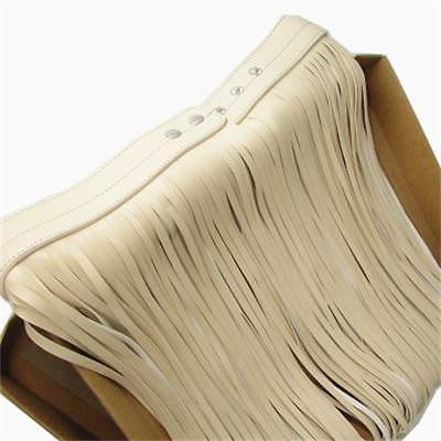 "27"" - 33"" waist white faux leather fringe tassel belt skirt 28"" length"