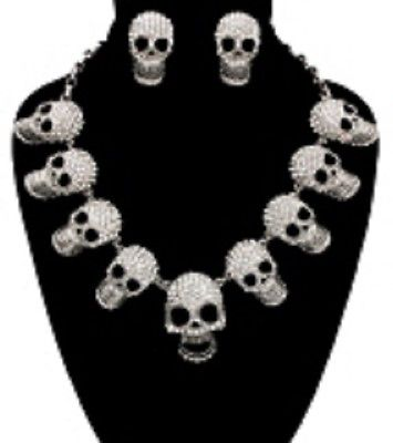 "18"" silver skull goth crystal pave halloween necklace choker collar bib pendant"