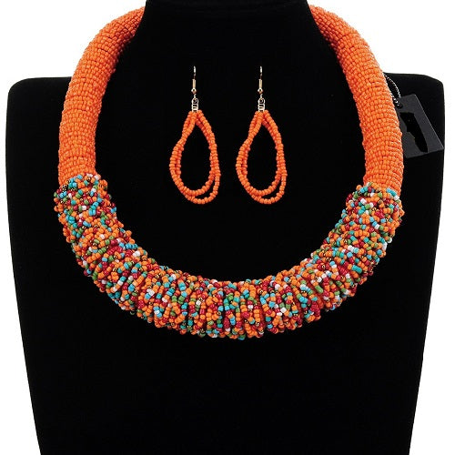 "19"" seed bead boho round necklace 2.25"" earrings .90"" wide"